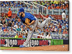 Jake Arrieta Chicago Cubs Pitcher Acrylic Print by Marvin Blaine