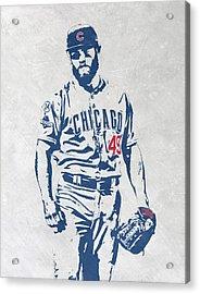 Jake Arrieta Chicago Cubs Pixel Art Acrylic Print by Joe Hamilton
