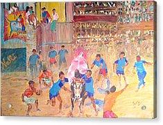Jallikattu- The Bull Fight Acrylic Print by Narayan Iyer