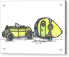 Jalopy And Yellow Camper Acrylic Print