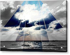 Jamaica Sunset Art Deco Bw With Color Acrylic Print