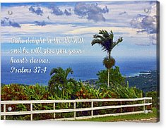 Jamaican Ocean View Ps. 37v4 Acrylic Print