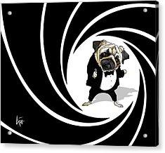 James Bond Pug Caricature Art Print Acrylic Print