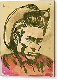 James Dean  -  Etching Pop Art Poster Acrylic Print