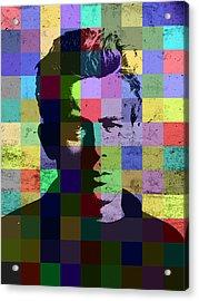 James Dean Actor Hollywood Pop Art Patchwork Portrait Pop Of Color Acrylic Print by Design Turnpike