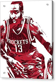 James Harden Houston Rockets Pixel Art 3 Acrylic Print