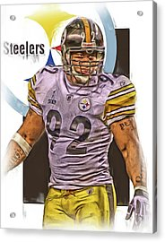 James Harrison Pittsburgh Steelers Oil Art Acrylic Print by Joe Hamilton
