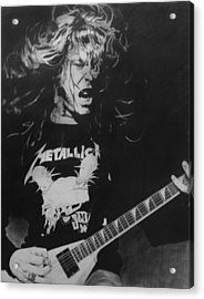 James Hetfield Pencil 1987 Acrylic Print by Brian Carlton