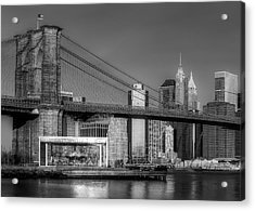 Jane's Carousel Brooklyn Bridge Nyc Bw Acrylic Print by Susan Candelario
