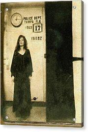 Janis Joplin Mug Shot Standing 1969 Painting Gold Black Acrylic Print by Tony Rubino