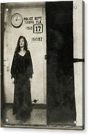 Janis Joplin Mug Shot Standing 1969 Painting Tan Black Acrylic Print by Tony Rubino