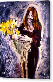 Janis With Yellow Roses Acrylic Print