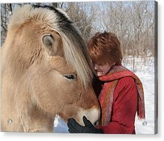 January Fjord And Friend Acrylic Print by Laurie With