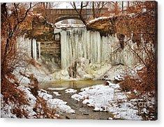 January Melt At Wequiock Falls  Acrylic Print by Mark David Zahn