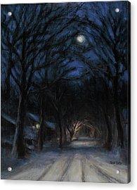 January Moon Acrylic Print by Sarah Yuster