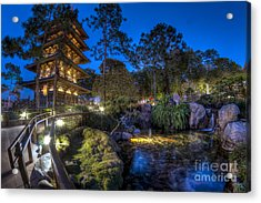 Japan Epcot Pavilion By Night. Acrylic Print