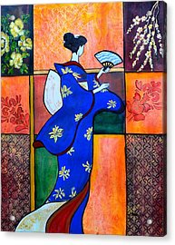 Japan Geisha Kimono Colorful Decorative Painting Ethnic Gift Decor Acrylic Print