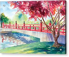 Japanese Bridge Acrylic Print by Denise Schiber