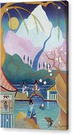 Japanese Bridge Acrylic Print by Sally Appleby
