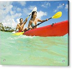 Japanese Couple Kayaking Acrylic Print by Dana Edmunds - Printscapes