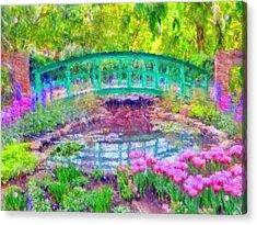 Acrylic Print featuring the digital art Japanese Footbridge At Phipps Conservatory 2 by Digital Photographic Arts