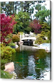 Japanese Garden Bridge And Koi Pond Acrylic Print by Elaine Plesser