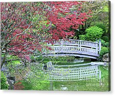 Japanese Garden Bridge In Springtime Acrylic Print by Carol Groenen