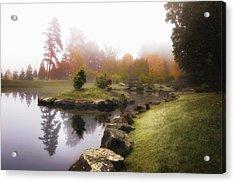 Japanese Garden In Early Autumn Fog Acrylic Print