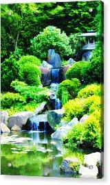 Japanese Garden Waterfall Acrylic Print by Bill Cannon