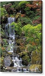 Japanese Garden Waterfall Acrylic Print by Sandra Bronstein