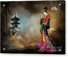 Acrylic Print featuring the digital art Japanese Girl With A Landscape In The Background. by Andrzej Szczerski