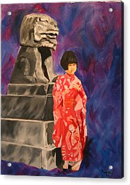 Japanese Girl With Chinese Lion Acrylic Print by Marilyn Tower