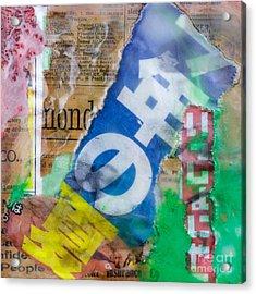 Japanese Newspaper Encaustic Mixed Media Acrylic Print by Edward Fielding