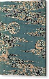 Japanese Phoenix And Hollyhock Interior Art Painting.  Acrylic Print