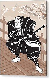 Japanese Samurai Warrior Sword On Bridge Acrylic Print by Aloysius Patrimonio