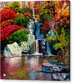 Japanese Waterfall Acrylic Print by John Lautermilch