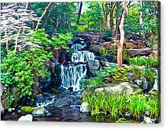Acrylic Print featuring the photograph Japanese Waterfall Garden by Scott Carruthers