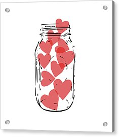 Jar Of Hearts- Art By Linda Woods Acrylic Print