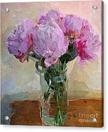Jar Of Peonies Acrylic Print by Alexis Rotella