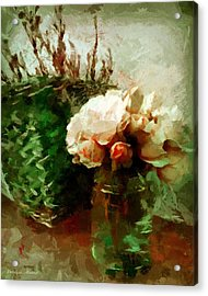 Jar Of Roses With Lavender Acrylic Print