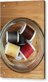 Jar Of Thread Spools Acrylic Print