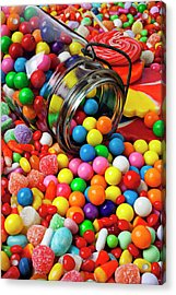 Jar Spilling Bubblegum With Candy Acrylic Print by Garry Gay