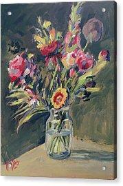 Jar Vase With Flowers Acrylic Print