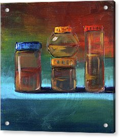 Acrylic Print featuring the painting Jars Still Life Painting by Nancy Merkle