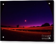 Jashua Tree Night Sky Light Trails Acrylic Print
