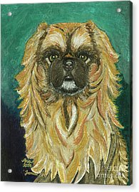 Acrylic Print featuring the painting Jasmine The Pekingese Princess by Ania M Milo