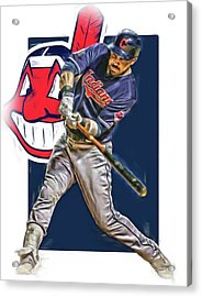Jason Kipnis Cleveland Indians Oil Art Acrylic Print by Joe Hamilton