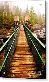 Jay Cooke Hanging Bridge In Fog Acrylic Print by Mark David Zahn