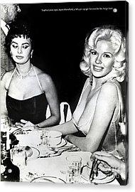 Jayne Mansfield Hollywood  Actress Sophia Loren 1957 Acrylic Print
