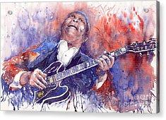 Jazz B B King 05 Red Acrylic Print by Yuriy  Shevchuk